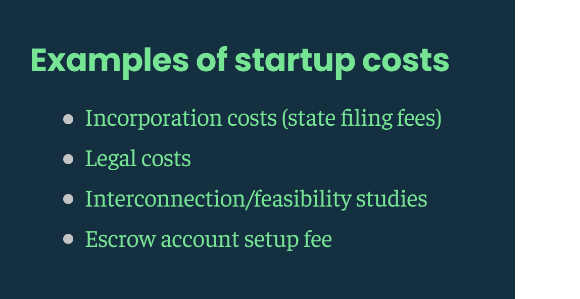 Cover your startup costs